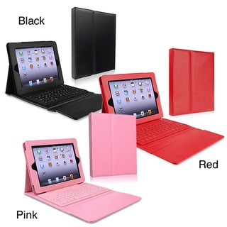 INSTEN Stand Leather Tablet Case Cover with Bluetooth Keyboard for Apple iPad 2