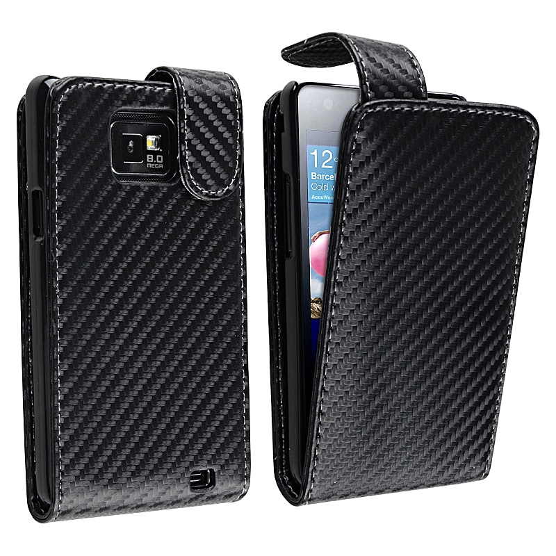Black Matting Leather Case for Samsung Galaxy S II i9100 with Magnetic Top-Snap - Thumbnail 0
