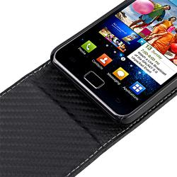 Black Matting Leather Case for Samsung Galaxy S II i9100 with Magnetic Top-Snap - Thumbnail 2