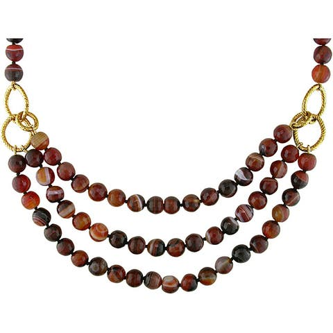 Miadora Goldtone 600ct TGW Brown Agate 3-strand 18-inch Necklace