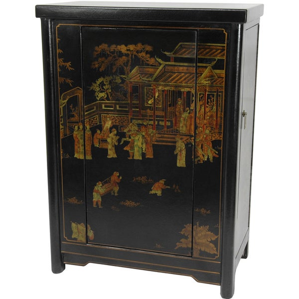 Handmade Oriental Home Black Lacquer Wine Cabinet (China)
