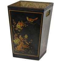 Oriental Home Black Lacquer Trash Bin (China)