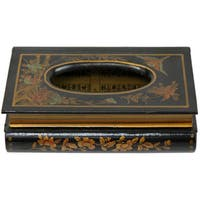 Handmade Oriental Home Wooden Tissue Box with Black Lacquer Finish (China)