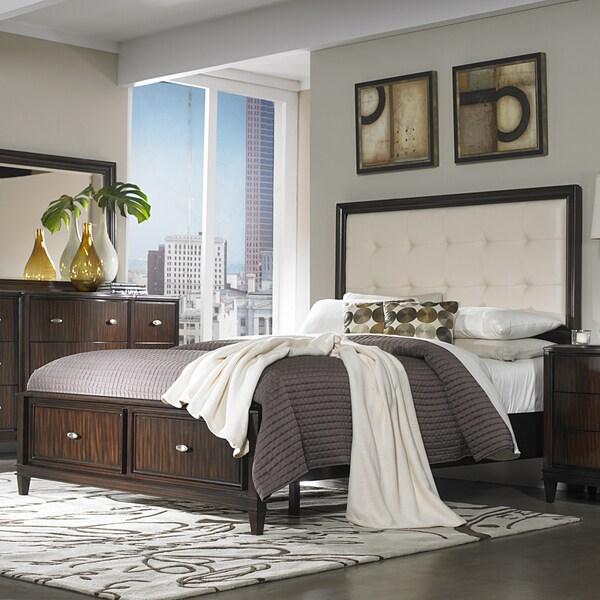 Tribecca home cumbria cream linen 5 piece queen size - Queen size bedroom set with storage ...