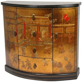 Handmade Gold Leaf Village Market Cabinet (China)