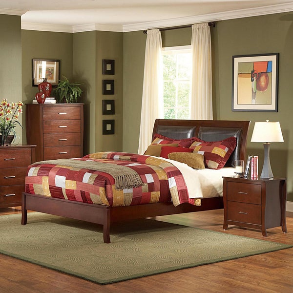 Tribecca Home Filton 5 Piece Faux Leather Upholstery Queen Size Bedroom Set Free Shipping