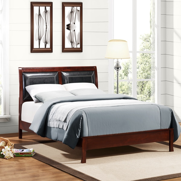 Filton Faux Leather Upholstered Warm Cherry King-size Bed