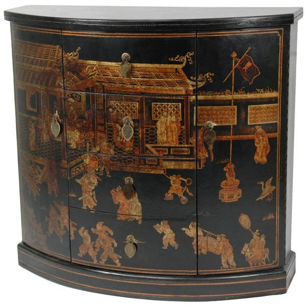 Oriental Home Black Lacquer Village Market Cabinet (China)