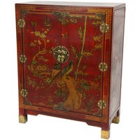 Handmade Oriental Home Red Lacquer Nestling Birds Cabinet (China)