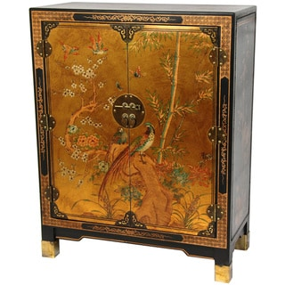 Handmade Oriental Home Gold Leaf Nestling Birds Cabinet (China)