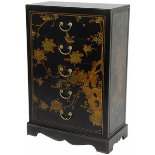 Black Lacquer Five Drawer Chest (China)
