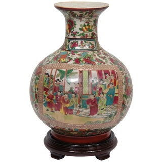 Handmade Oriental Home Porcelain 14-inch Rose Medallion Vase (China)