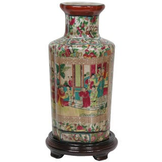 """Handmade 12"""" Porcelain Rose Medallion Vase"""