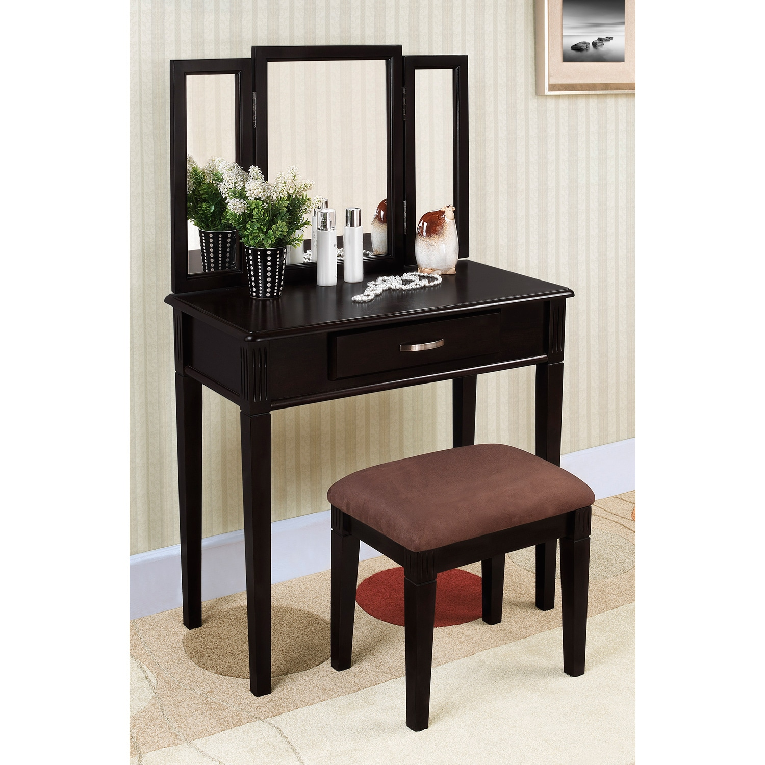 Black Finish Tri Mirror Vanity Table And Stool Free