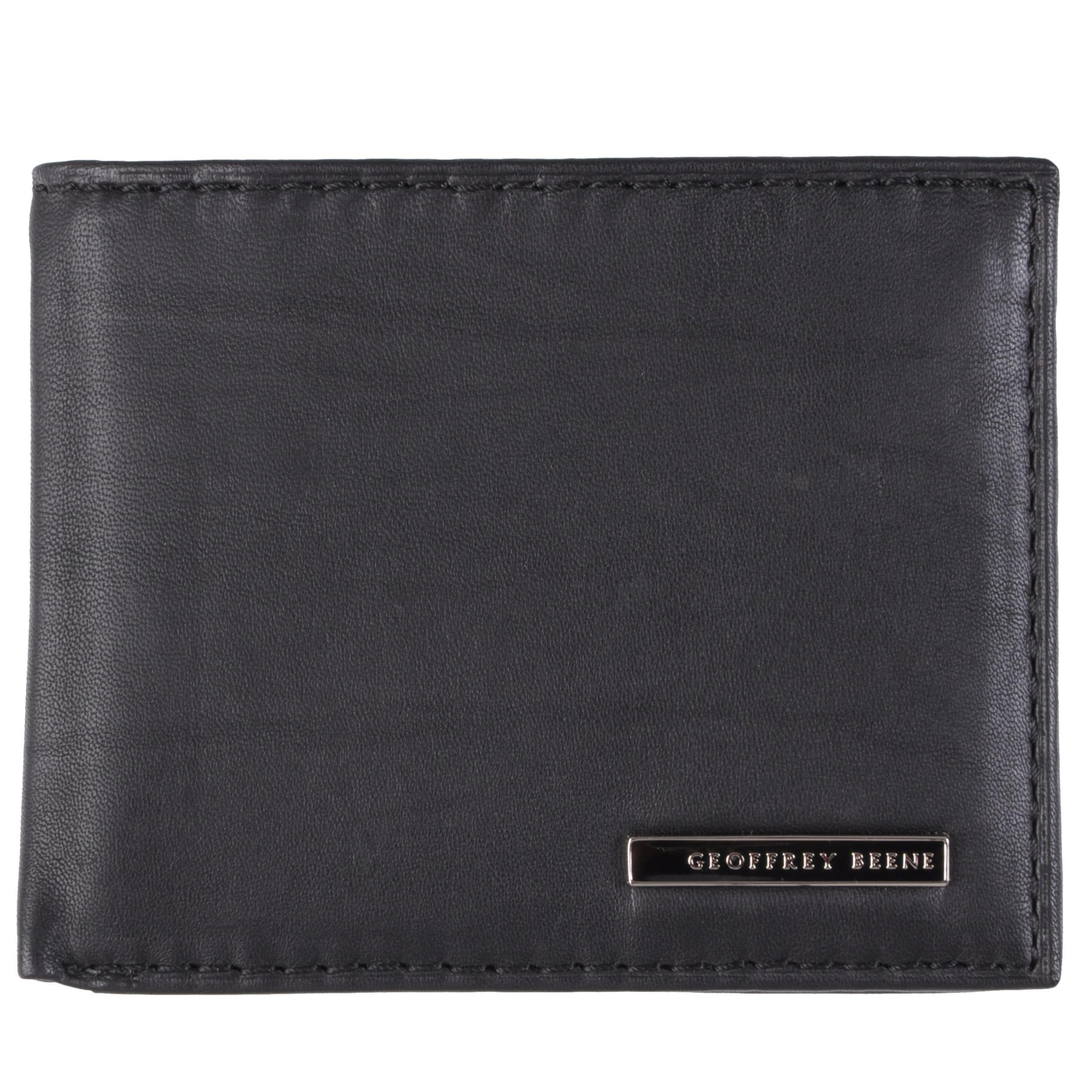 Geoffrey Beene Men's Textured Genuine Leather Bifold Passcase Wallet
