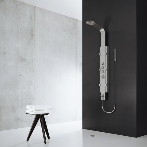 VIGO Mateo Shower Massage Panel System with Rain Shower Head plus Hand Shower & Tub Spout
