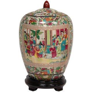 Oriental Home Porcelain 11-inch Rose Medallion Vase Jar (China)