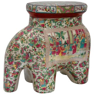 Handmade Oriental Home Porcelain 14-inch Rose Medallion Elephant Stool (China)