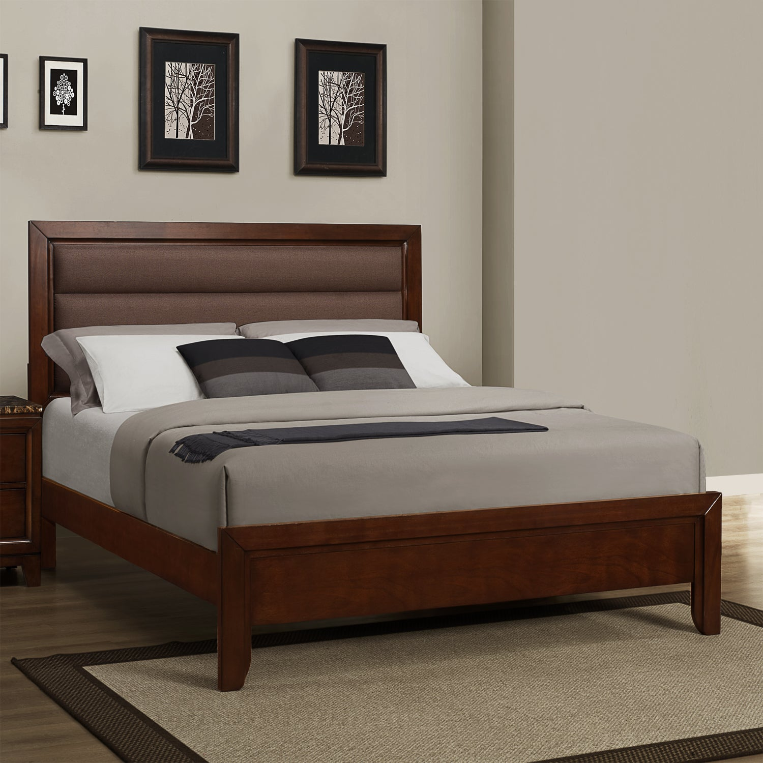shop tribecca home amble warm cherry finish brown fabric padded king size bed free shipping. Black Bedroom Furniture Sets. Home Design Ideas