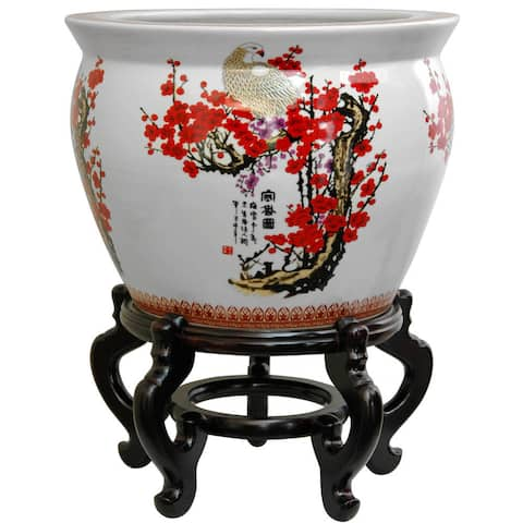 "Handmade Oriental Home Porcelain 18-inch Cherry Blossom Fishbowl (China) - 18.5""W x 18.5""D x 13.5""H"