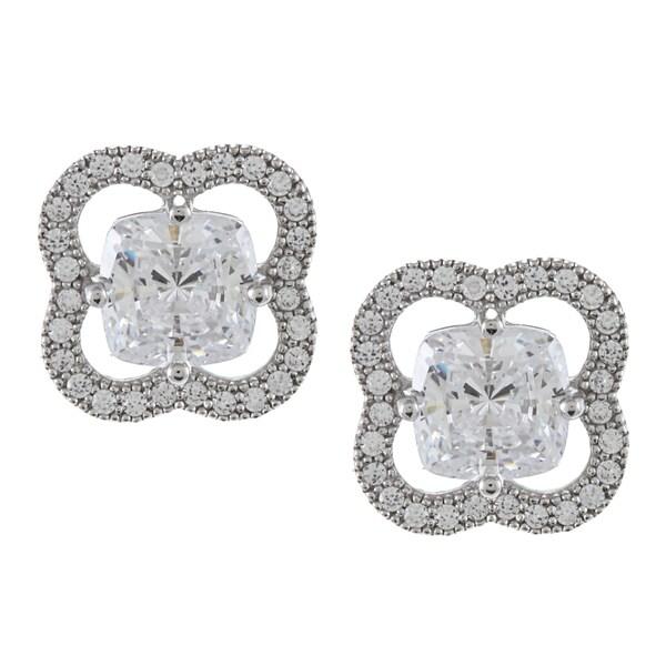 La Preciosa Sterling Silver Cubic Zirconia Flower Stud Earrings