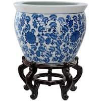 Handmade Oriental Home Porcelain 18-inch Blue and White Floral Fishbowl (China)