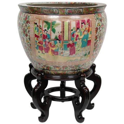 Oriental Home Porcelain 16-inch Rose Medallion Fishbowl (China)