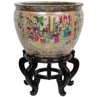 Link to Oriental Home Porcelain 16-inch Rose Medallion Fishbowl (China) Similar Items in Planters, Hangers & Stands