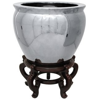 Handmade Oriental Home Porcelain 12-inch Pure Silver Fishbowl (China)