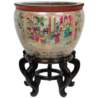 Link to Oriental Home Porcelain 12-inch Rose Medallion Fishbowl (China) Similar Items in Planters, Hangers & Stands