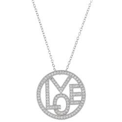 """La Preciosa Sterling Silver Circle """"LOVE"""" Micro Pave Pendant (107 stones)"""