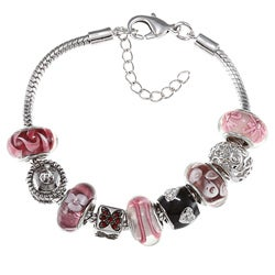 La Preciosa Silvertone Pink and Purple Glass Bead Charm Bracelet