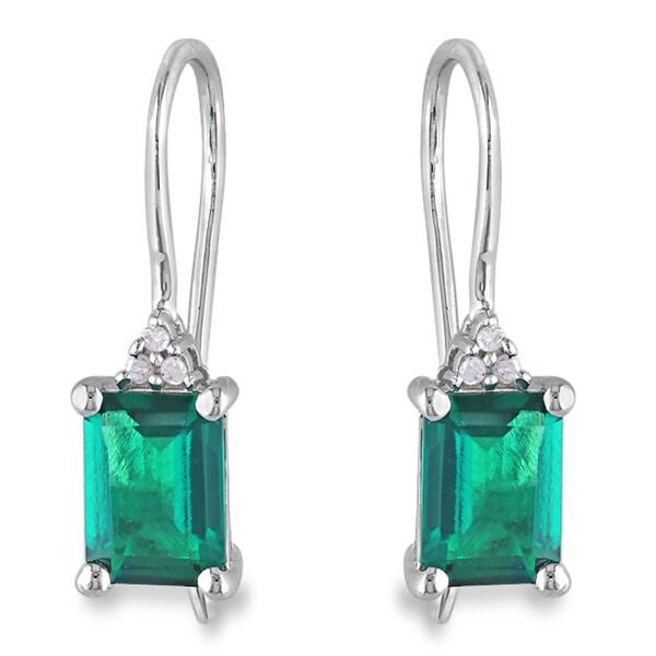 Miadora Sterling Silver 1-3/4ct TGW Created Emerald & Diamond Accent Earrings (H-I, I3)