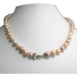 Pearlyta Sterling Silver Multi-colored Freshwater Pearl Center Clasp Necklace (9-10 mm)