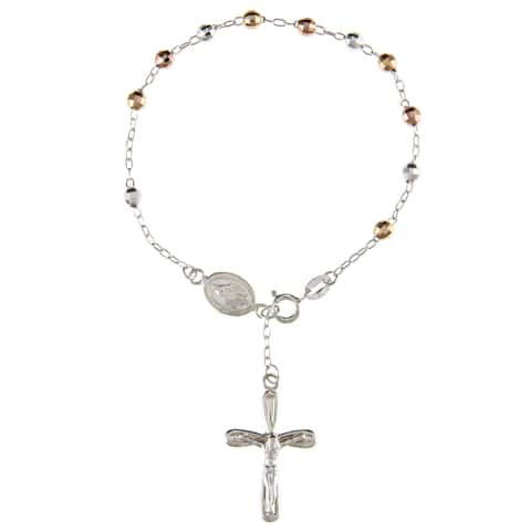 La Preciosa Tri-color Sterling Silver 7.5-inch Rosary Bracelet
