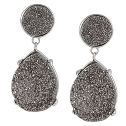 La Preciosa Sterling Silver Pear and Round Grey Druzy Earrings