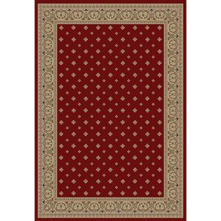 Dallas Formal European Floral Border Diamond Field Red, Beige, and Ivory Area Rug (6'7 x 9'6)