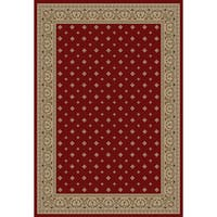 Well Woven Dallas Formal European Floral Border Diamond Field Red, Beige, Ivory Area Rug - 6'7 x 9'6