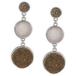 La Preciosa Sterling Silver Graduated Gold and Light Pink Druzy Earrings