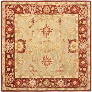 Safavieh Handmade Anatolia Oriental Farahan Sage Green/ Burgundy Hand-spun Wool Rug (6' Square)