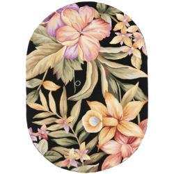 """Safavieh Hand-Hooked Botanical Black Wool Area Rug (4'6"""" x 6'6"""" Oval)"""