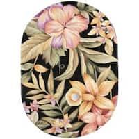 """Safavieh Hand-Hooked Botanical Black Wool Area Rug - 4'6"""" x 6'6"""" oval"""