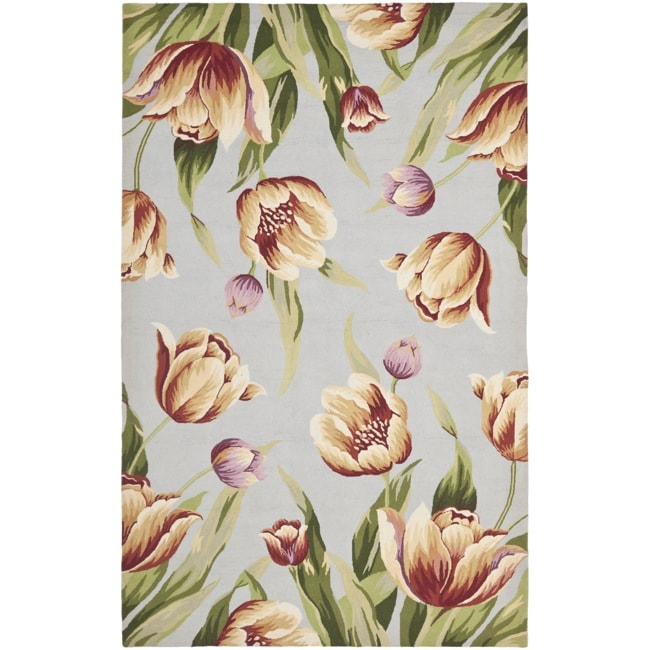 Safavieh Hand-hooked Spring Flowers Light Blue Wool Rug (5'3 x 8'3) - Thumbnail 0