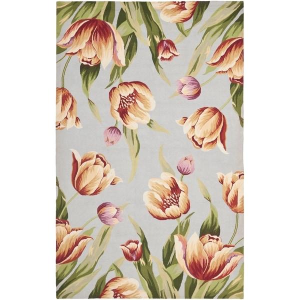 "Safavieh Hand-hooked Spring Flowers Light Blue Wool Rug - 5'-3"" x 8'-3"""
