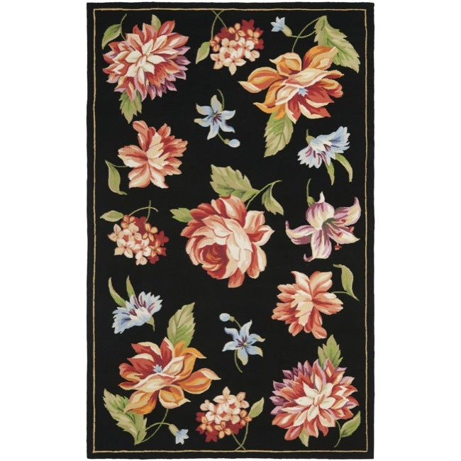 Safavieh Hand-hooked Botanical Black Wool Rug (5'3 x 8'3)