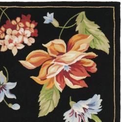 Safavieh Hand-hooked Botanical Black Wool Rug (5'3 x 8'3) - Thumbnail 1
