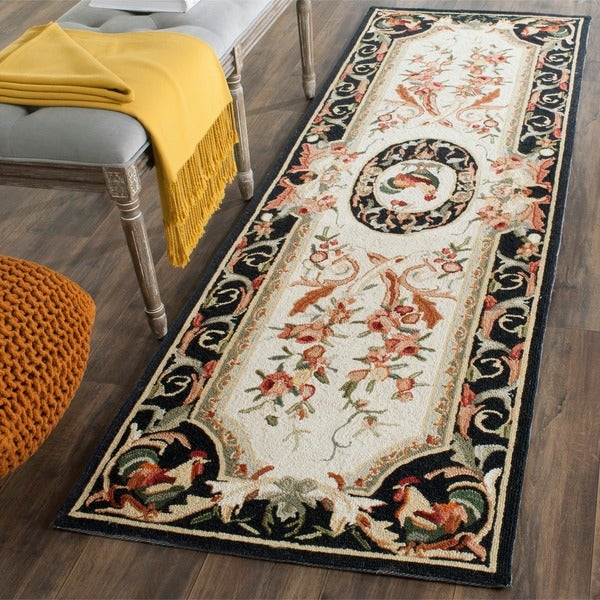 Safavieh Hand-hooked Rooster Ivory/ Black Wool Rug (2'6 x 6')