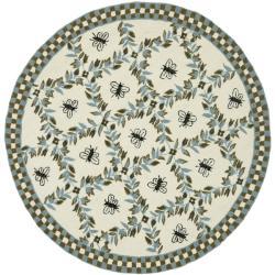 Safavieh Hand-hooked Bees Ivory/ Blue Wool Rug (8' Round)