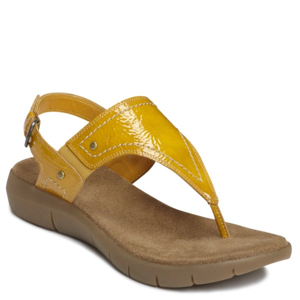 A2 by Aerosoles Women's 'Wip It Up' Yellow Faux Leather Sandals