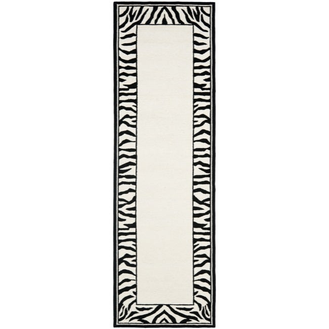 Safavieh Hand-hooked Zebra Border White/ Black Wool Rug (2'6 x 6')